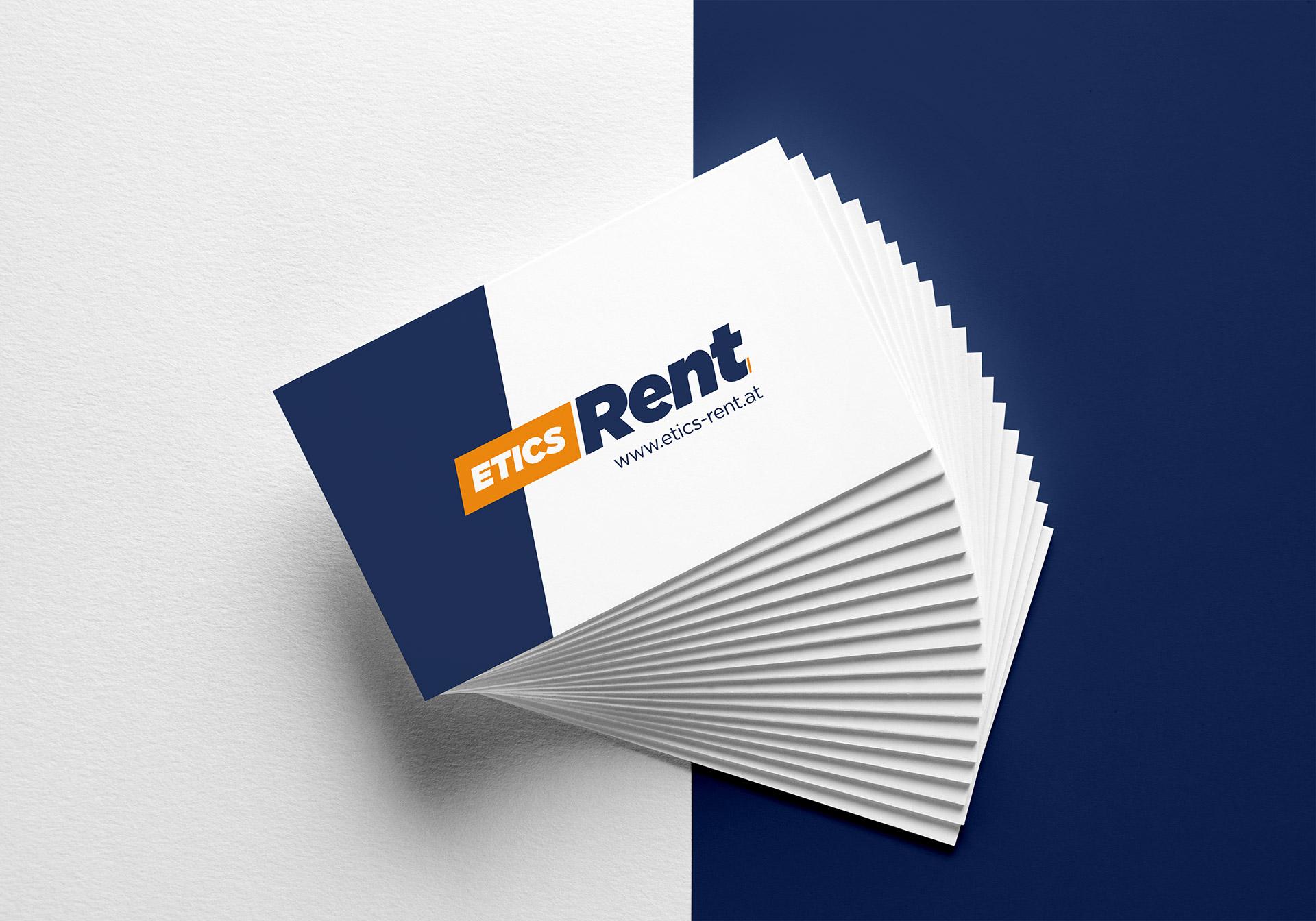 Etics Rent Visitenkarte und Logo
